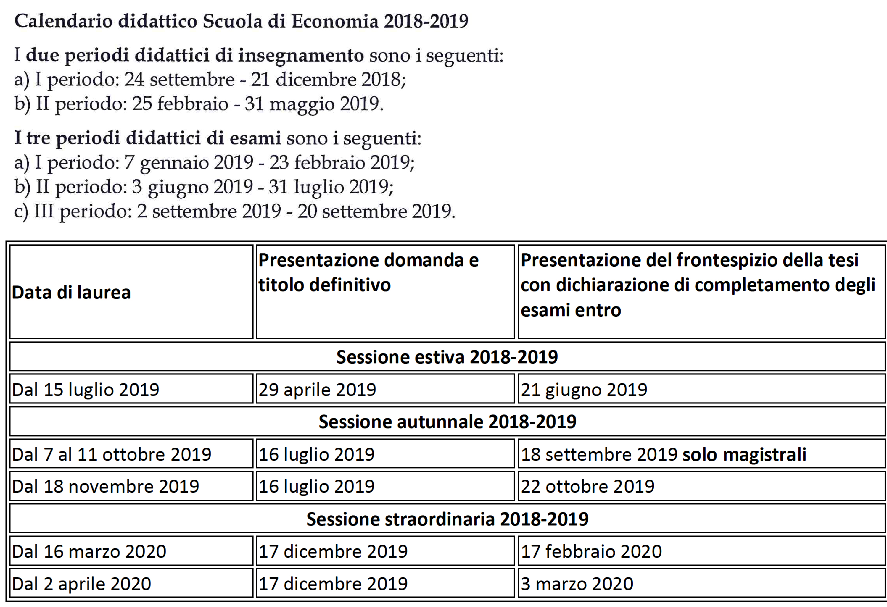 Calendario Accademico 2020.Calendario Didattico Clea M
